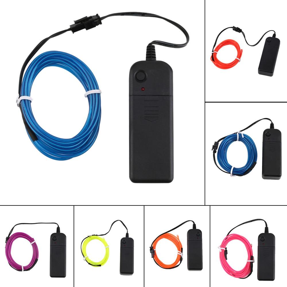 ICOCO 2m Flexible EL Wire Tube Rope Neon Light Glow Controller Car ...