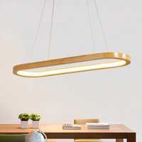 Dining Room Wood LED Pendant Light Droplamp Modern Oval Wooden Frame Pendant Lamp Kitchen Island Office Study Hanging Lighting