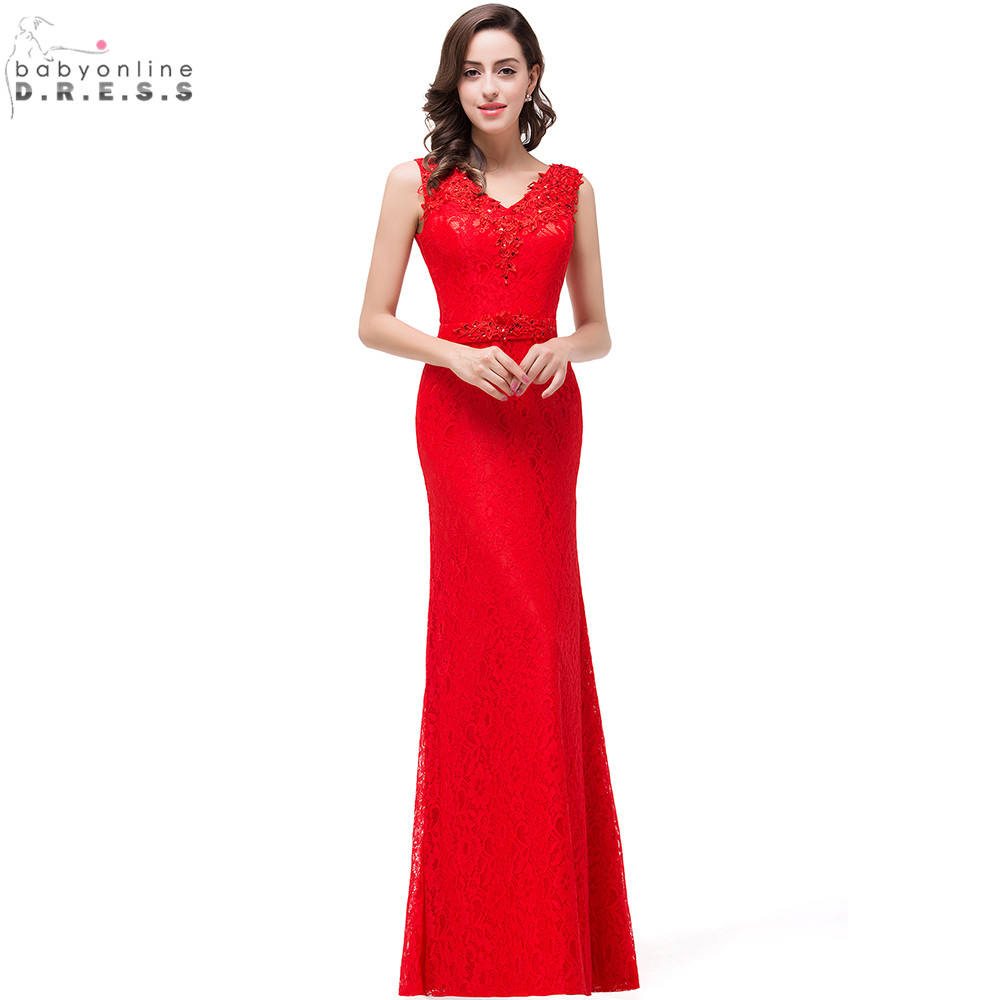 robe de soiree longue red lace chiffon evening dress 2017 cheap appliques v neck evening party. Black Bedroom Furniture Sets. Home Design Ideas