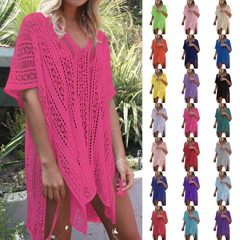 Dress Bikinis Robe Beachwear Pareos Tunic Cover-Up Crochet Knitted White Long
