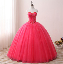 Sweetheart Neck Vintage Ruffles Ball Gown Quinceanera 2018 Beaded Sequined Crystals Tull gown  For 15 Year Plus Size