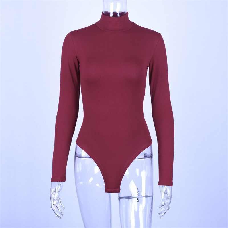 Cotton long sleeve high neck skinny bodysuit 2019 autumn winter women black gray solid sexy body suit