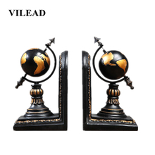 VILEAD 20cm 2Pcs/Set Resin Book Stand Earth Figurines Study Desktop Globe Model Store Office Table Home Decoration Accessories