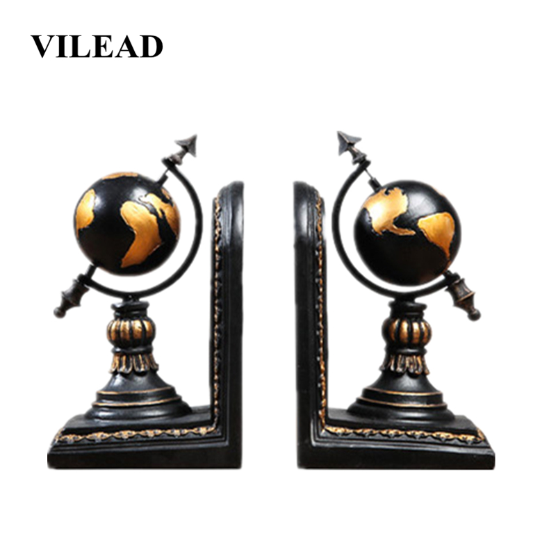 VILEAD 7.9 2Pcs/Set Resin Book Stand Earth Figurines Study Desktop Globe Model Store Office Table Home Decoration Accessories