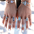 New 6pcs Bohemia Rings Set Sliver Plated Vintage  Moon Ring Rhinestone Carving Classic Geometric Pattern for women jewelry