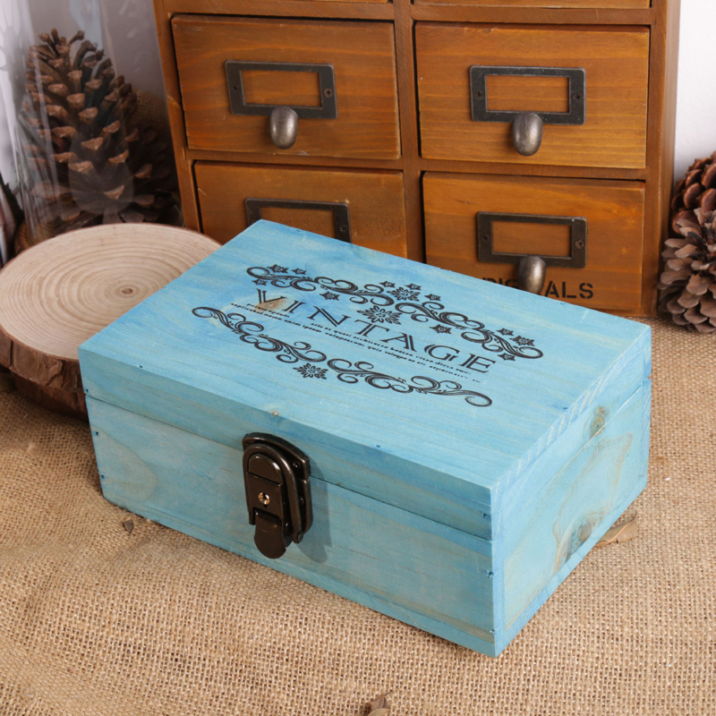 Home Decor Storage Boxes: VINTAGE Wooden Storage Box With Lock Rectangle Japan Style