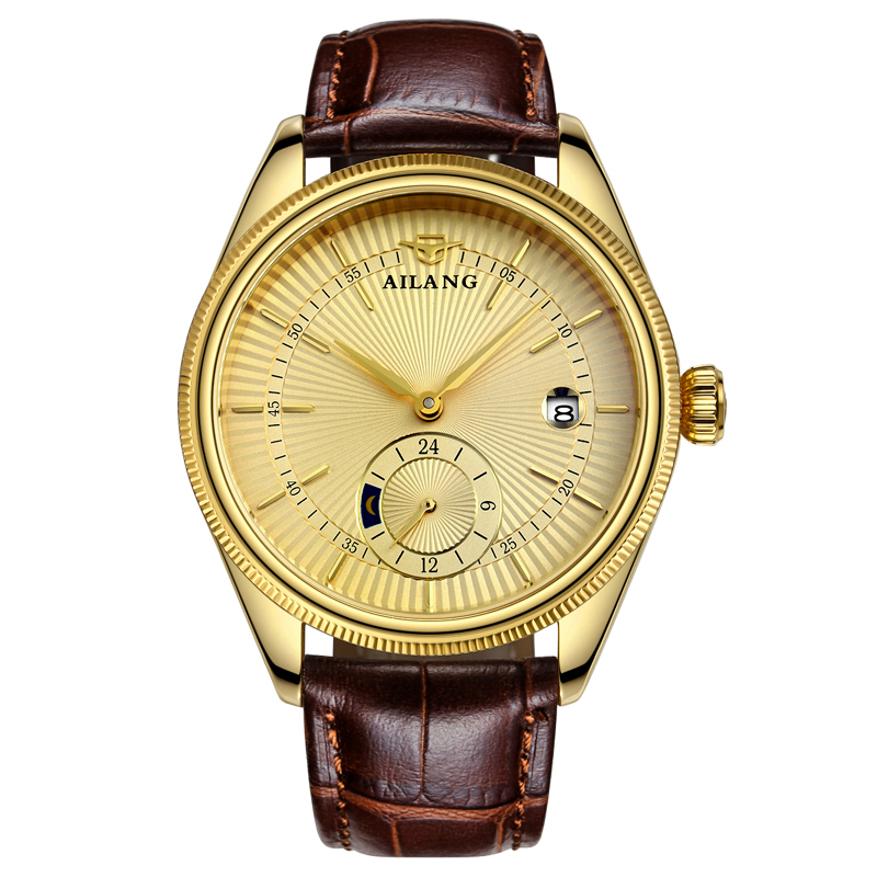 AILANG 5801 Switzerland watches men luxury brand automatic mechanical cellini watch Watches Relogio masculino Gold Wristwatch unique smooth case pocket watch mechanical automatic watches with pendant chain necklace men women gift relogio de bolso