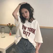 Estilo Preppy T-Shirt Mulheres New York Carta Imprimir Camiseta Com Decote Em V Meia Manga Grande Tamanho Solta Top Femme