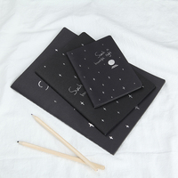 3 Size Set DIY Kawaii Creative Star Sketchbook Black Notebook For Painting Drawing Kids Stationery Gifts