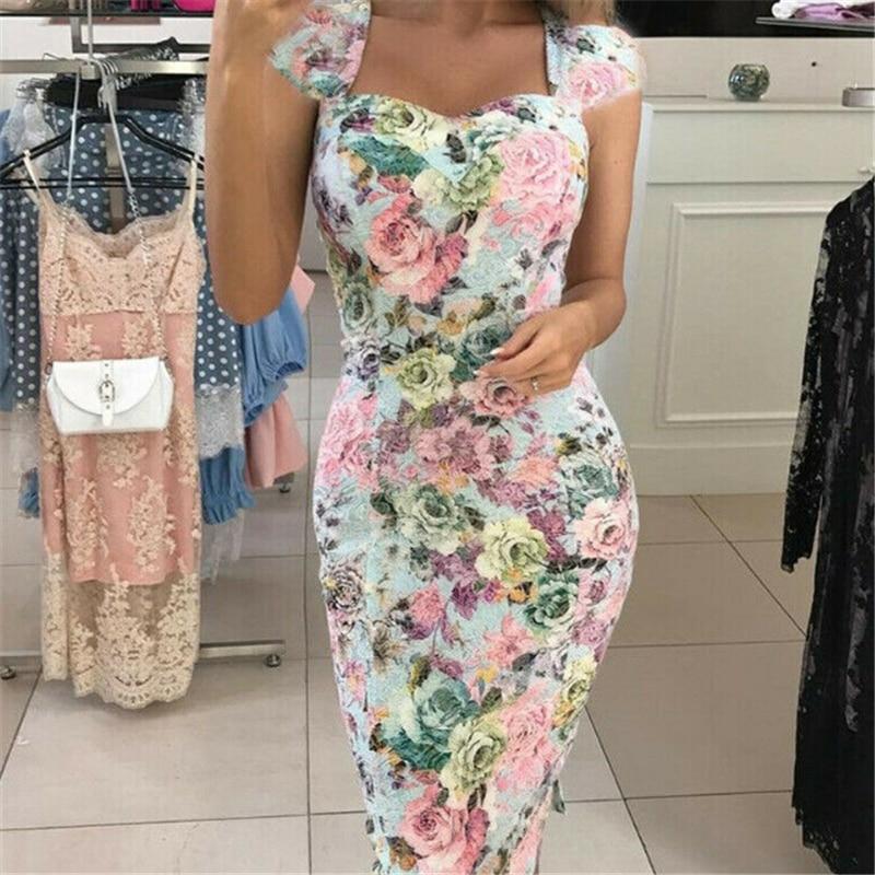 Новое женское сексуальное платье с глубоким v образным вырезом, цветочное облегающее вечернее платье с высокой талией, женское Бандажное летнее Клубное платье|Платья|   | АлиЭкспресс