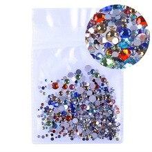 Ss3-ss30 разные размеры: 1000 шт./упак. кристально чистый AB, не для горячей фиксации для ногтевого дизайна с плоской задней частью Стразы для дизайна ногтей, 3D украшения для ногтей украшение драгоценных камней