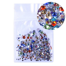 ss3-ss30 Mix Sizes 1000PCS/Pack Crystal Clear AB Non Hotfix Flatback Nail Art Rhinestones For Nails 3D Decoration Gems