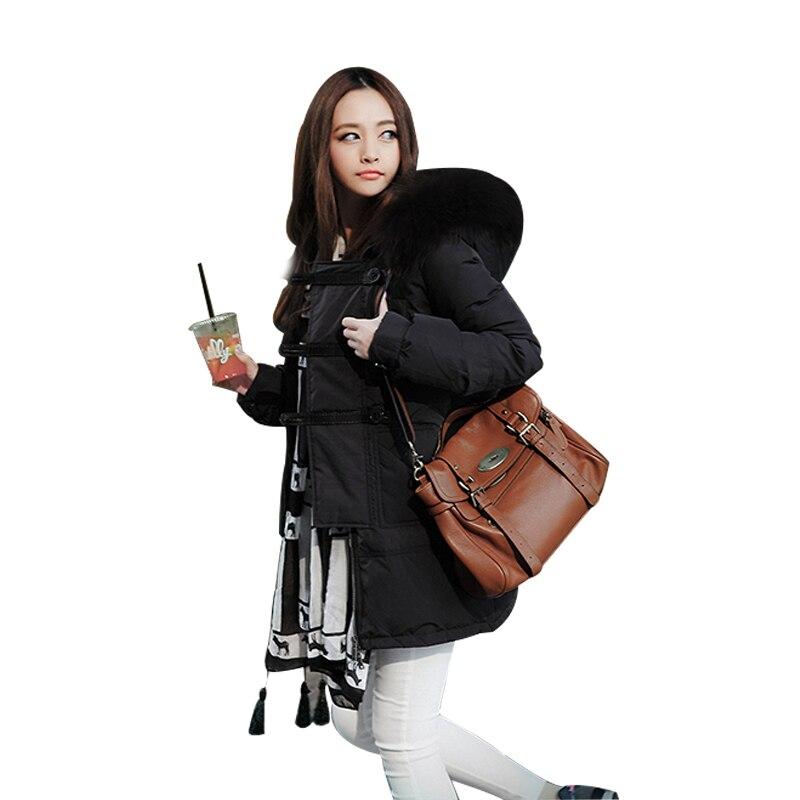 ФОТО Winter Jacket Women Hood Coat Fur Collar Army Green Black Casual Long Warm Parka Outwear Warm Jacket