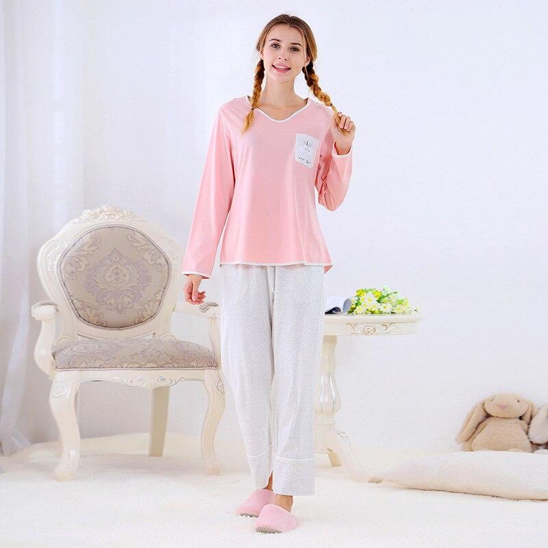 Pyjamas Women combed Cotton Pijama Autumn Soft Pajamas Sets Long Sleeve top+ long Pants Nightwear Suit Household Clothes Пижама