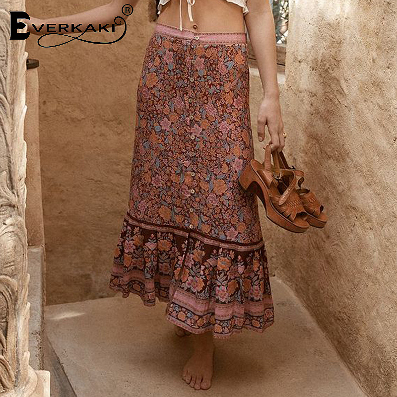 Everkaki Cotton Bohemian Long Skirts For Women Rosy Red/Green/ Gypsy Floral Pattern Skirt 2019 Printed Boho Pleated Party Skirt