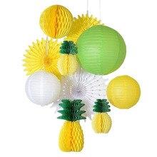 (Κίτρινο, Πράσινο, Λευκό) Καλοκαιρινό Κόμμα Διακόσμηση Σετ Κυψελοειδής Ανανάς, Χαρτί Φανάρι / Ανεμιστήρες / Μπάλες Παραλία Luau Τροπικό Κόμμα Πίσω