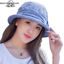 BINGYUANHAOXUAN Women's 2018 Summer Beach Bucket Sun Hat with Large Brim Casual Cotton Fashion Floppy(China)