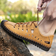 Lace up Genuine Leather Sandals Men's Casual Sewing sneakers Outdoor Beach Shoes Buckle Native Male Rubber Sole leisure Sandals g n shi jia black genuine leather upper rubber outsole men s leisure shoes sewing soft outdoor retro male casual shoes 888330
