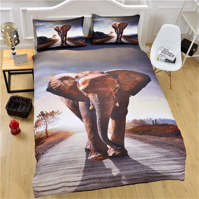 3D Indian Elephant Pattern Bedding Set 3pcs Twin Full Queen King Size Animal Duvet Cover Sets Home Bedclothes With Pillow Case