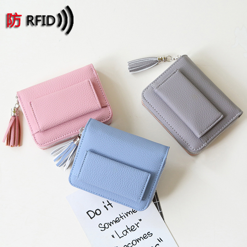 RFID Protection Women Lovely Samll Wallets And Purse With Tassel Ladies Female Fashion Zipper Coin Wallet Credit Card Case