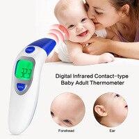 2017 New Digital Contato-tipo Bebê Adulto Termômetro Infravermelho IR LCD Retroiluminado Laser Dual Mode Termometro de Testa e Orelha arma
