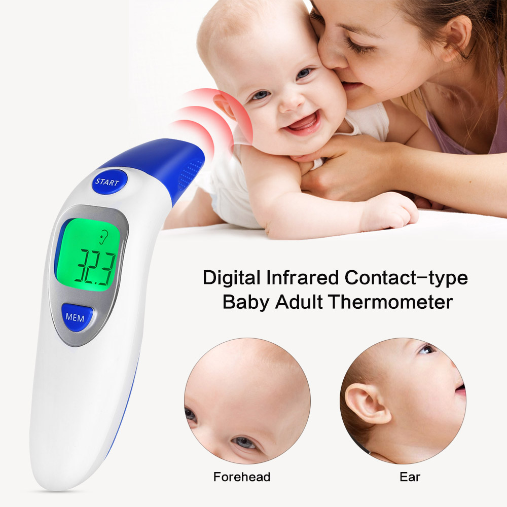 2017 New Digital Infrared Contact-type Baby Adult Thermometer IR LCD Backlit Laser Dual Mode Forehead and Ear Termometro Gun infrared thermometer digital electronic bady care ear forehead babylis baby care termometros testa infravermelho ir thermometer
