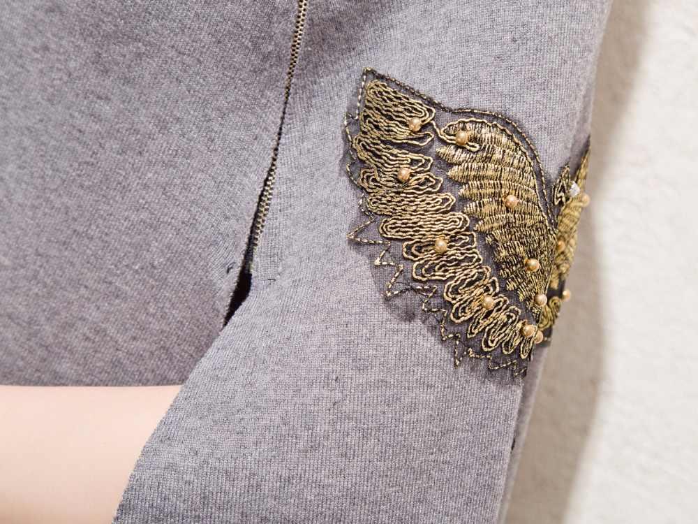 Женский трикотажный пончо с вышивкой, трикотажный пуловер с рукавами «летучая мышь», Осень-зима 2020