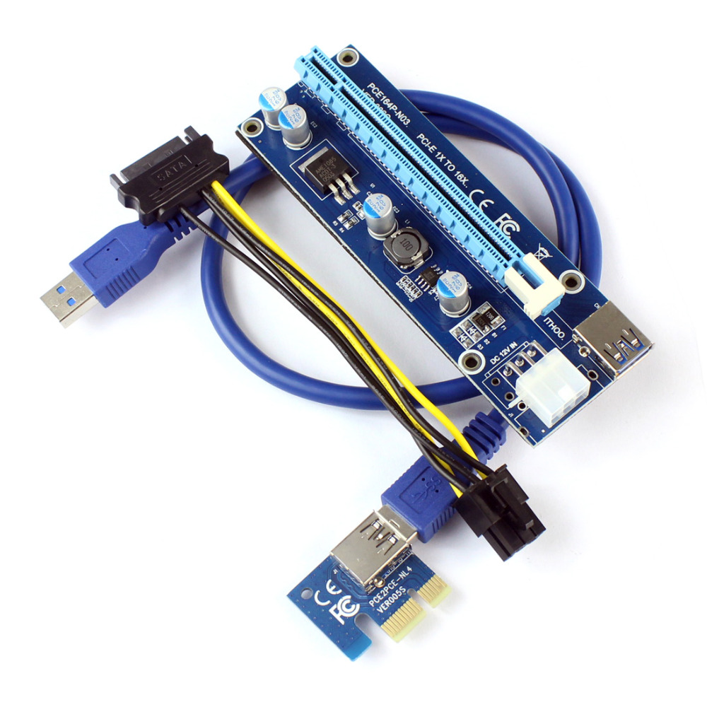 PCI-E Express 1x 4x 8x 16x Extender Riser Card Adaptateur 6Pin DC-DC Câble D'alimentation pour ETH Bitcoin Minière Dispositif F21215