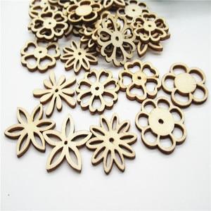 Image 4 - 20/50pcs 30 millimetri Naturale tipo di miscela Openwork carving modello di fiore di legno Scrapbooking Fatti A Mano Carft per La decorazione Domestica fai da te Q30