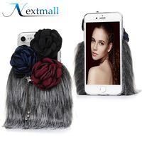 For IPhone 5 5S SE 6 6S 7 Plus Case Glitter 3D Rose Flower Fur Back