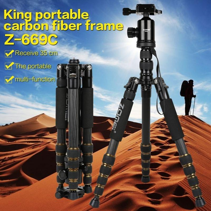 Zomei Q666 Portable Professional Tripod Ball Head Monopod For DSLR For SLR Camera High Quality Photograph Accessories Tripods zomei z888 portable stable magnesium alloy digital camera tripod monopod ball head for digital slr dslr camera