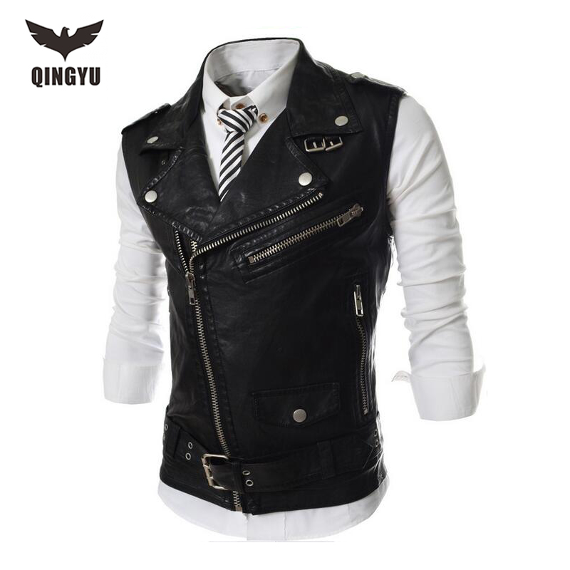 2017 New Brand Mens Leather Motorcycle Vest Harley Mens Leather Vest Red Waistcoat Steampunk Rock Slim Zipper Sleeveless Jacke