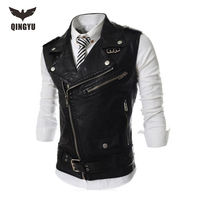 2016 New Brand Mens Leather Motorcycle Vest Harley Mens Leather Vest Red Waistcoat Steampunk Rock Slim