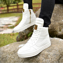 AGUTZM 2018 Hot Men Boots Fashion Warm Winter Men shoes Autumn Leather Footwear For Man New High Top  Casual Shoes Men Q130 цены онлайн