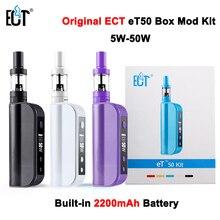 Caja de cigarrillos electrónicos mod et ect 50 kit 50 w e cig 2.5 ml mini niebla atomizador de control de flujo de aire 2200 mah cigarrillo electrónico kit et50