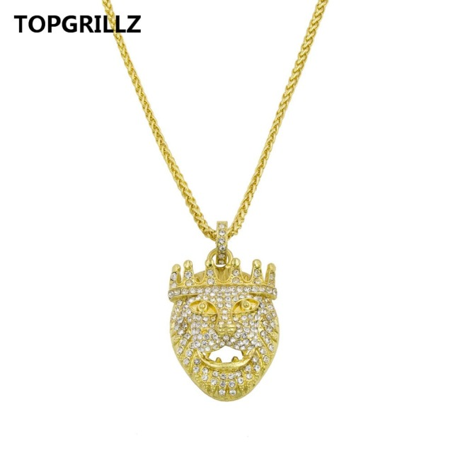 Topgrillz gold hip hop pendant necklace drilling golden crown lion topgrillz gold hip hop pendant necklace drilling golden crown lion pendants with free rope chain aloadofball