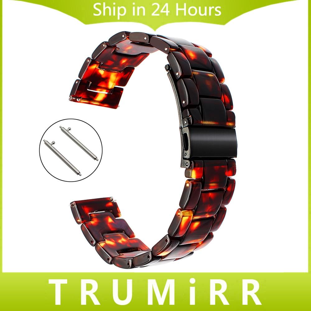 где купить Tortoise Resin Watchband for Fossil Q Founder Wander Crewmaster Grant Marshal Explorist Commuter Watch Band Quick Release Strap по лучшей цене