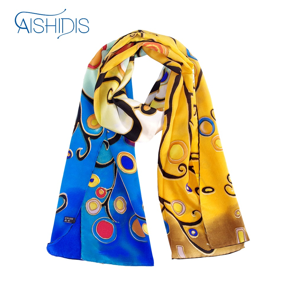 Fashion New Brand Long Silk Scarf Oil Painting Arts Wraps & Shawls Small Circles Tree Prints Office Lady Use