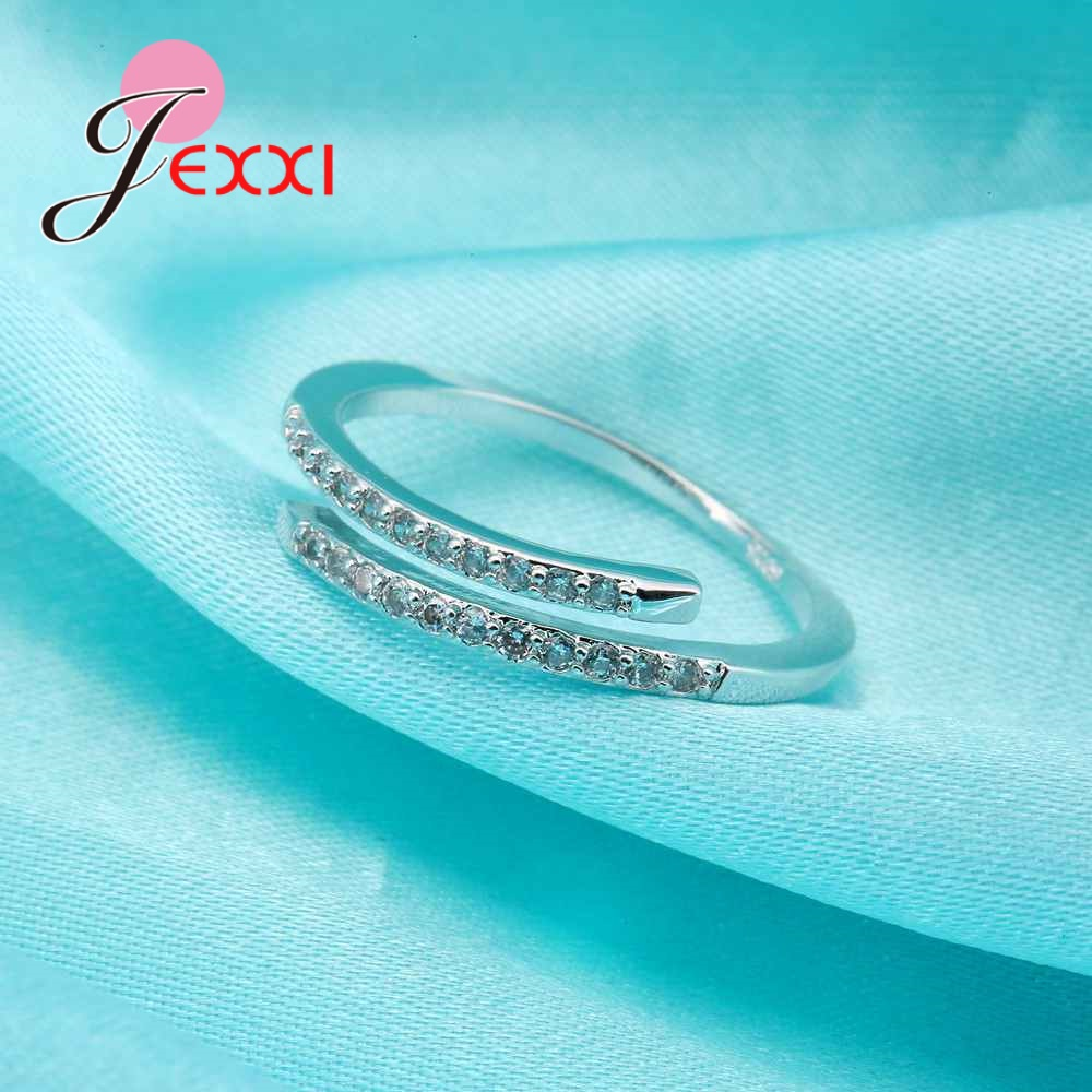 Nice Simple Design 925 Sterling Silver Jewelry Adjustable Ring White Shiny Rhinestone Crystal Ring For Ladies Female 1