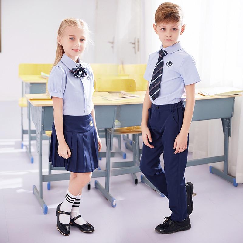 Students Summer School Uniforms Boys And Girls Chorus Clothing Short Sleeve Primary School Clothes Kids Kindergarten Wear D-0632