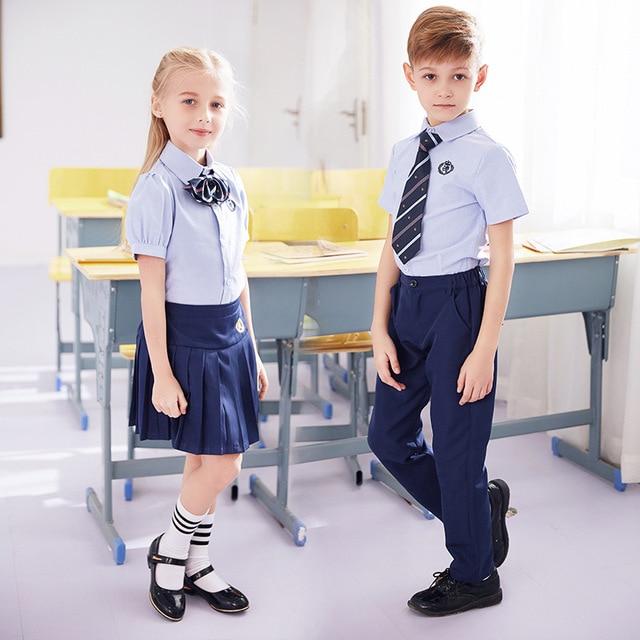 c553994b1542 Students Summer School Uniforms Boys and Girls Chorus Clothing Short Sleeve  Primary School Clothes Kids Kindergarten
