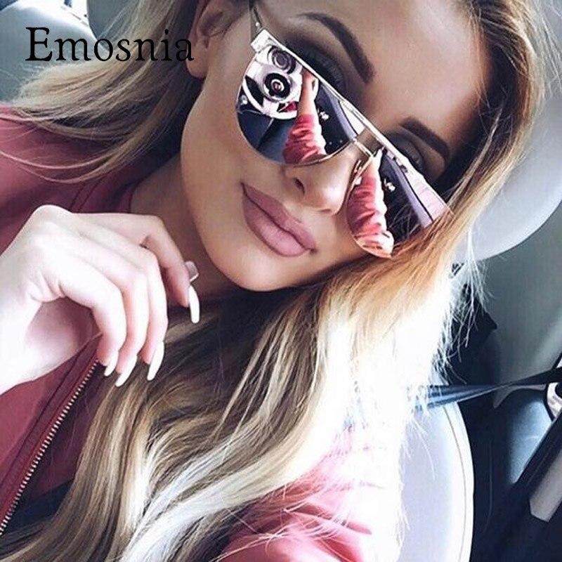 Emosnia Cat Eye Vintage Mirror Sunglasses Women 2017 Brand Designer Lady Rose Gold Mirror Sun Glasses Lunette De Soleil Femme