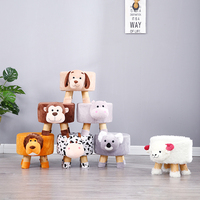Creative fashion stool children cartoon stool adult round pier sofa stool solid wood shoes bench