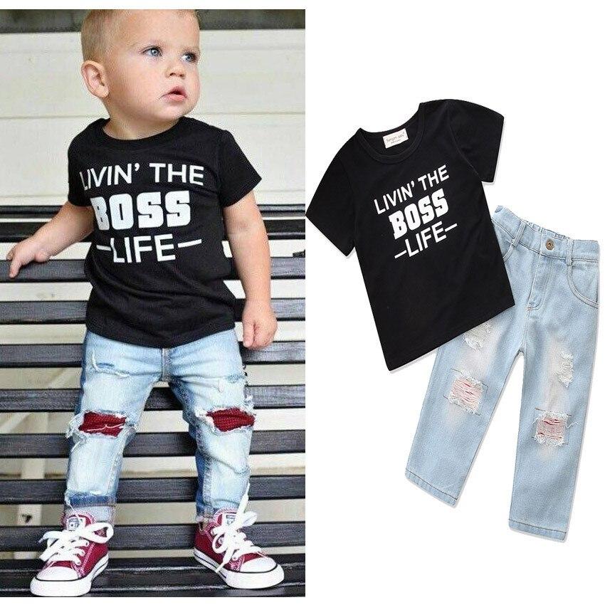 2018 детская одежда для мальчиков милый ребенок хлопок Черная рубашка + джинсы два костюма