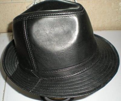 Mens Fedoras Top Hats Goat LEATHER BUCKET HAT TOP HAT GENTLEMAN HAT CAP 2271