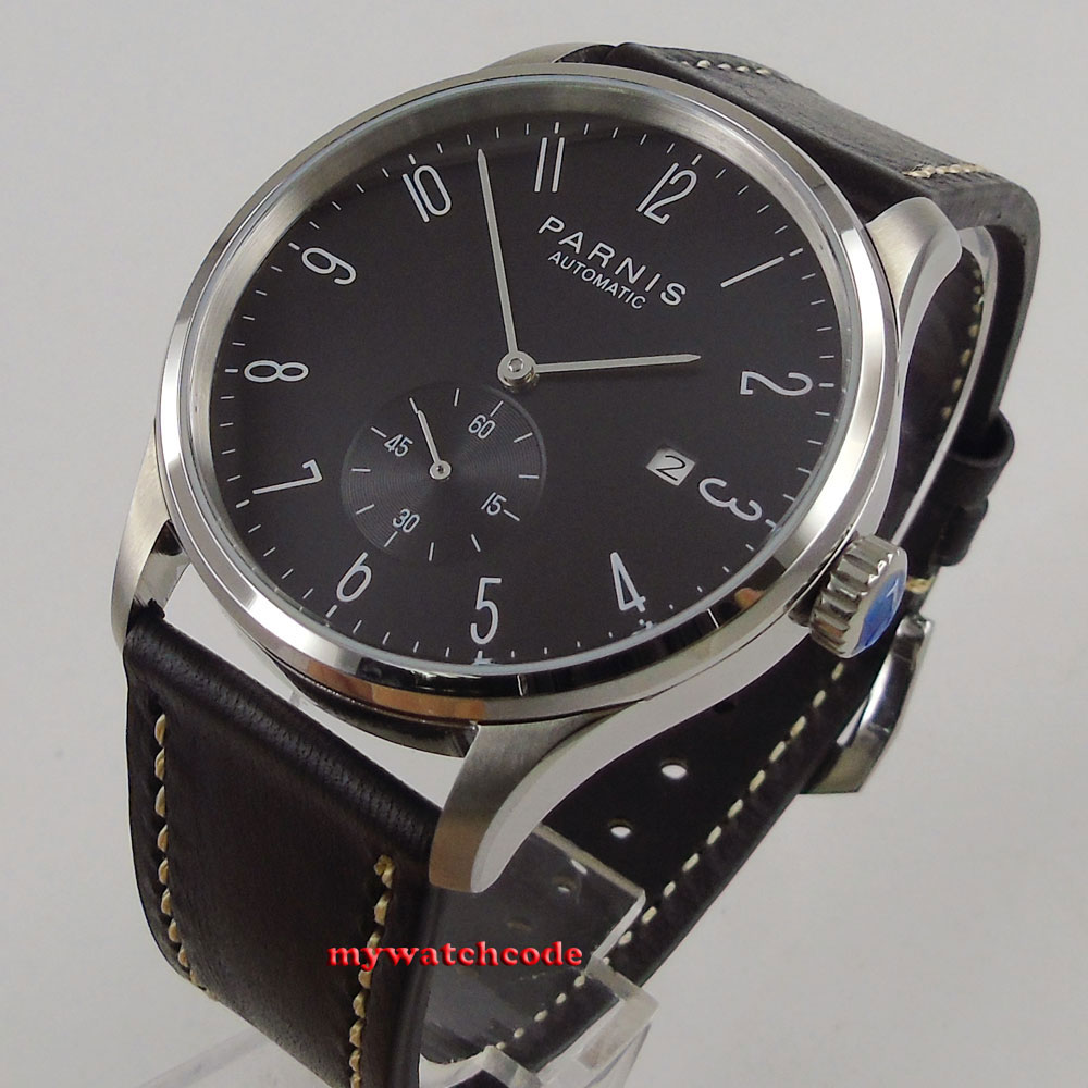new arrive 42mm parnis black dial date window ST1731 automatic MENS watch цена и фото