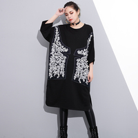 Fashion Pearl Decoration Blouse Women Spring New Beading O Neck Loose Plus Size Black Shirt Female