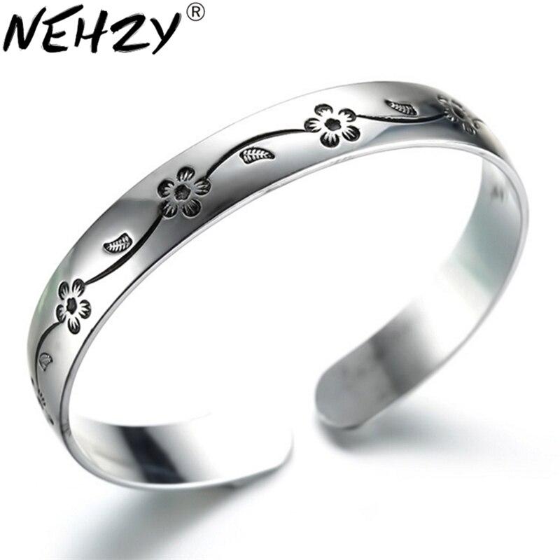 NEHZY 925 sterling silber neue Schmuck Neue Frau armband weibliche modelle plum retro Thai silber schwarz armband neue mode Armreif