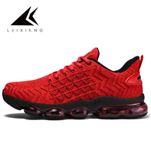 2019 China Red Sneakers Men Trainers Big Air Sole Mesh Running Shoes Breathable Fly Knit Sport Damping Masculino Adulto