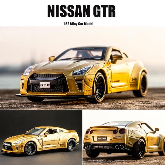 Новый 1:32 NISSAN GTR Гоночная машина из сплава модельные листы и игрушечные машинки Бесплатная доставка Детские игрушки для детей подарки мальчик игрушка